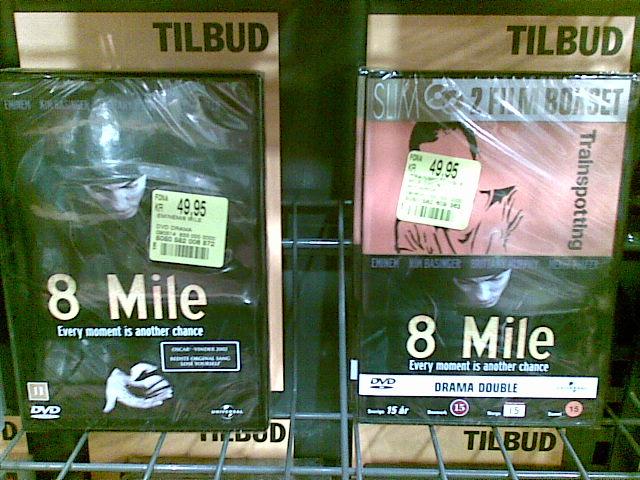 """Fona tilbyder DVD-filmen """"8 Mile"""" knap 50 kroner. Eller samme film og """"Trainspotting"""" til ... også 50 kroner. Desværre så det ikke ud til at man kunne få Transpotting alene til 50 kroner, så jeg gik tomhændet derfra."""