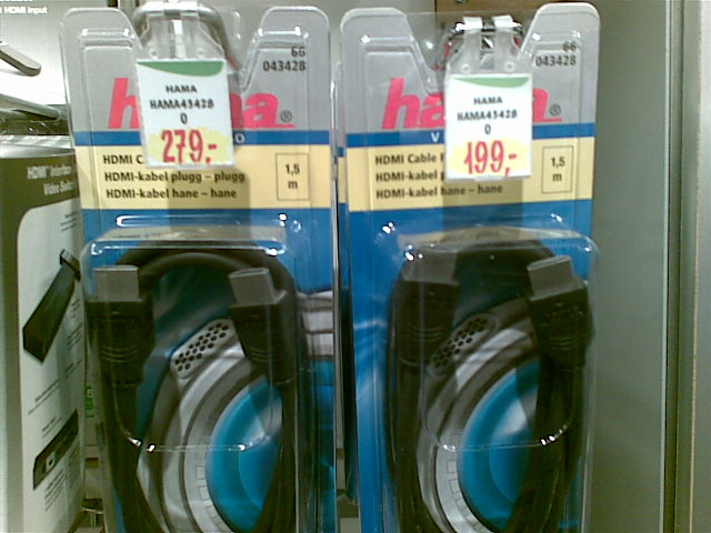 Ugens tilbud i ElGiganten: Vælg mellem et HDMI-kabel til 199 kroner eller præcist det samme kabel til 80 kroner mere. Heldigvis hang de ikke lige ved siden af hinanden, for det ville jo bare se dumt ud.